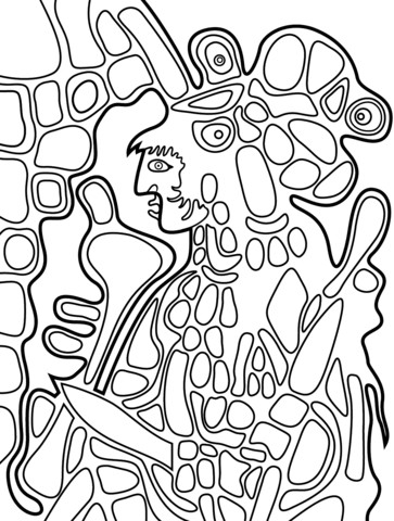 The Great Earth Mother by Norval Morrisseau coloring page