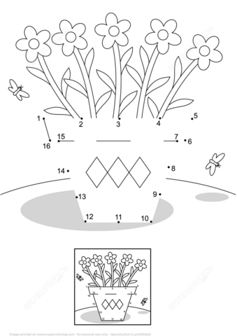 Flower Pot And Butterflies Dot To Dot Free Printable