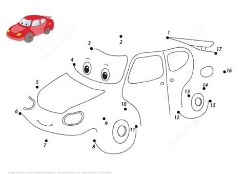 Hassu piirrettyjen auto pisteestä pisteeseen