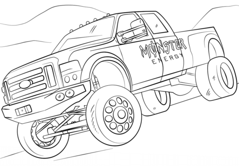 Dibujo de Monster Energy Monster Truck para colorear