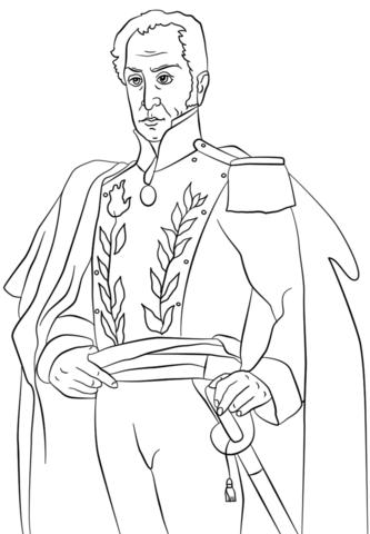 Dibujo de Simon Bolivar para colorear