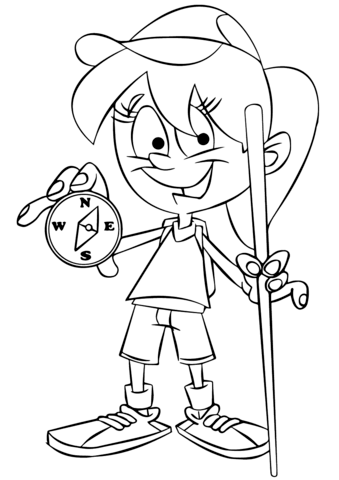 Girl Holding A Compass Coloring Page Free Printable