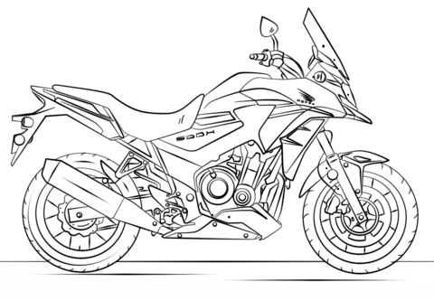 Honda-moottoripyörä värityskuva