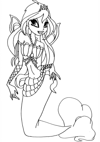 Mermaid Bloom Coloring Page Free Printable Coloring Pages