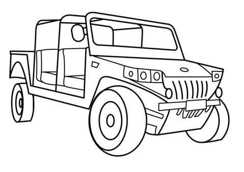 Military Light Utility Vehicle Coloring Page Free