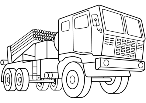 Multiple Rocket Launcher Vehicle coloring page  Free