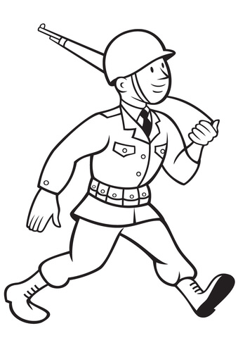 WW2 American Soldier Marching with Rifle coloring page