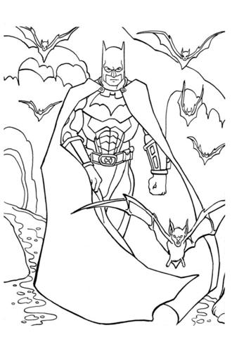 Batman lepakoiden kanssa värityskuva