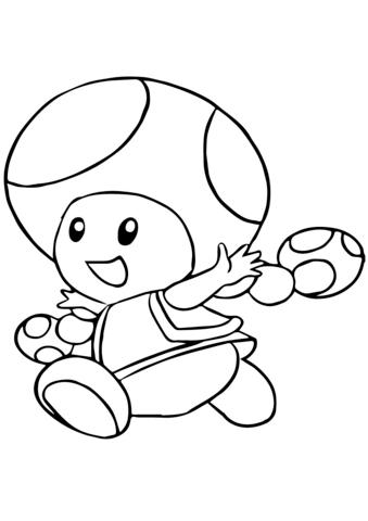 Kleurplaat Mario Toad • Kidkleurplaat.nl