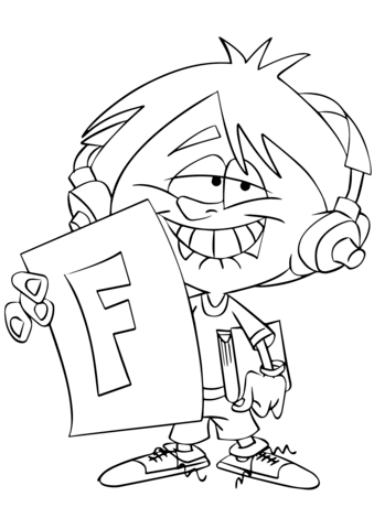 Child Holding up Report Card with Big F coloring page