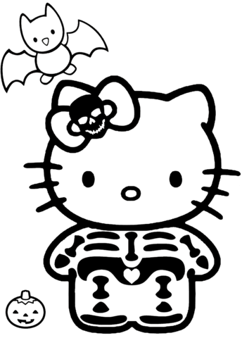 Hello Kitty Halloween Skeleton Coloring Page Free Printable Coloring Pages