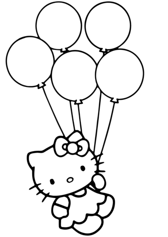kitty with balloons coloring
