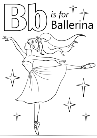 Letter B Is For Ballerina Coloring Page Free Printable