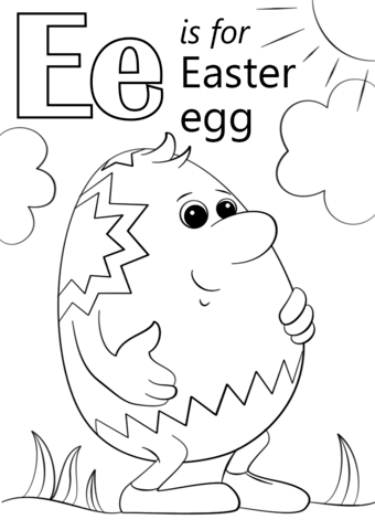 Letter E Is For Easter Egg Coloring Page Free Printable