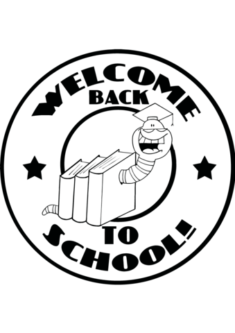 Mascot Bookworm with Text Back to School coloring page