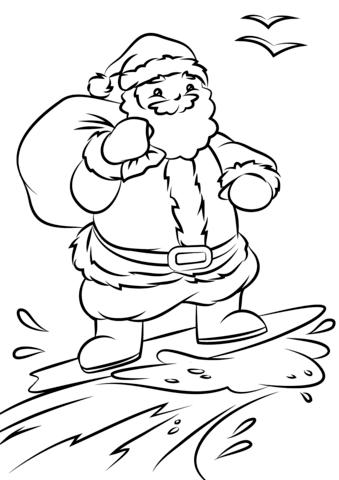 santa surfing coloring page