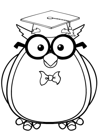 Wise Owl with Glasses and Graduate Cap coloring page