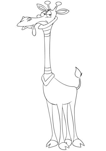 Cartoon Giraffe With Neck Brace Coloring Page Free