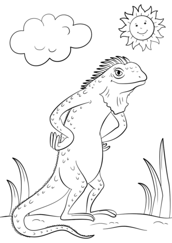 Cartoon Iguana Coloring Page Free Printable Coloring Pages