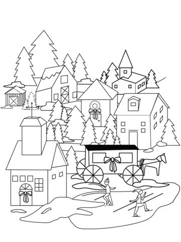 Joulukylä värityskuva