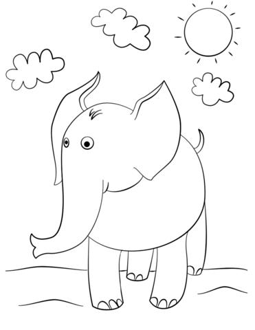 Dibujo de Elefante lindo de dibujos animados para colorear