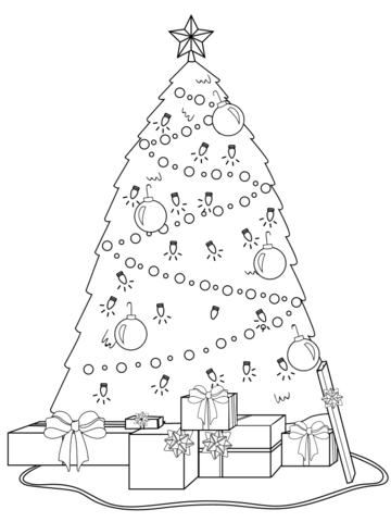Decorated Christmas Tree with Presents Under It coloring