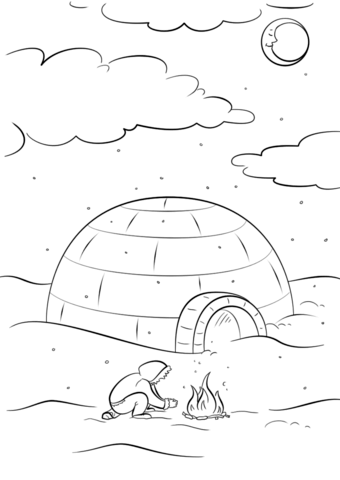 Inuit Sitting by a Bonfire in Front of Igloo coloring page