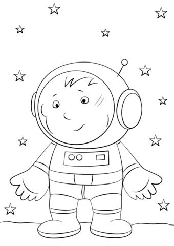 Dibujo de Muchacho astronauta en la luna para colorear