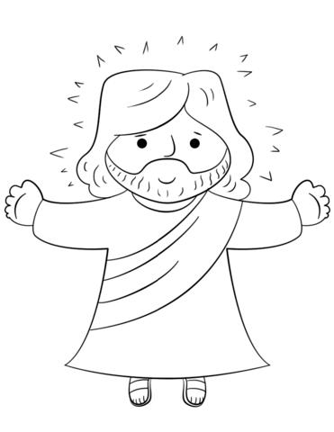Dibujo de Jesús de dibujos animados para colorear