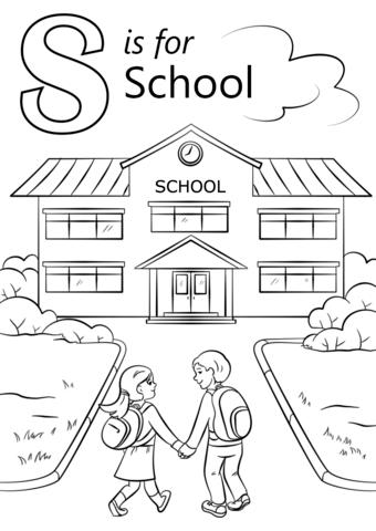 Kirjain S kuten School värityskuva