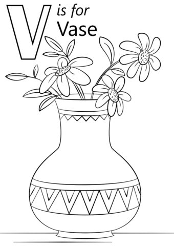 Letter V Is For Vase Coloring Page Free Printable Coloring Pages