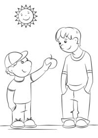 Dibujo de Mostrando amabilidad para colorear