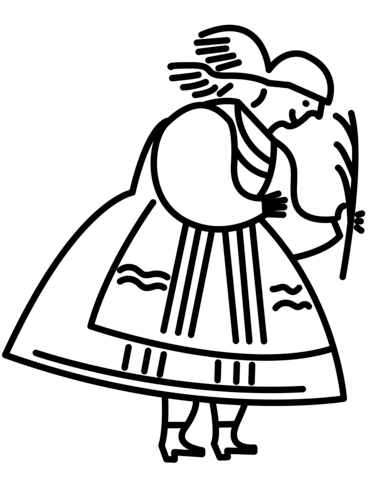 Polish Woman in Traditional Folk Dress coloring page
