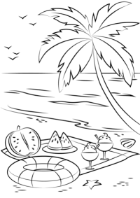 Dibujo de Picnic de playa de verano para colorear ...