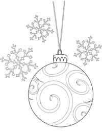 Dibujo de Bola de Navidad y copos de nieve para colorear