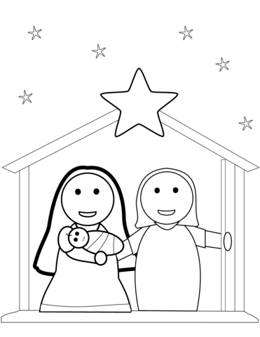 Click To See Printable Version Of Christmas Nativity Scene Coloring Page