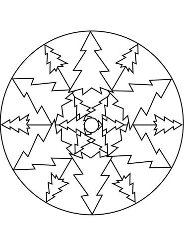Dibujo de Mandala del árbol de navidad para colorear
