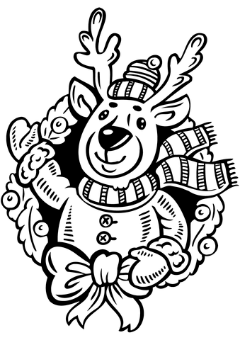 Christmas Wreath With Reindeer Coloring Page Free