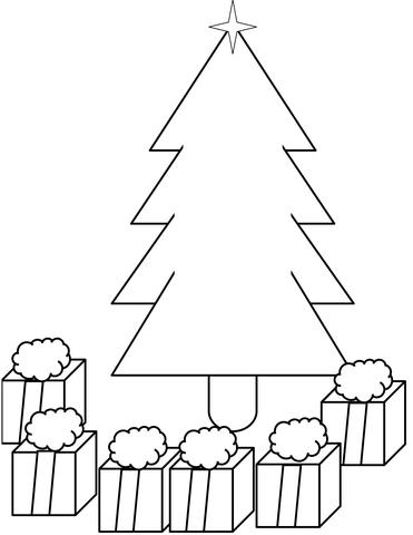 Dibujo de Árbol de Navidad con regalos para colorear