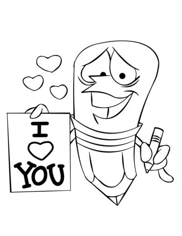 Cartoon Pencil Character Holding an