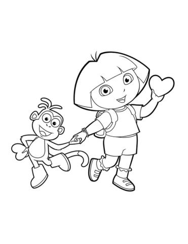 Dibujo de Dora, la exploradora en el Día de San Valentín