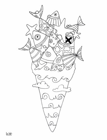 Sea Ice Cream Coloring Page Free Printable Coloring Pages