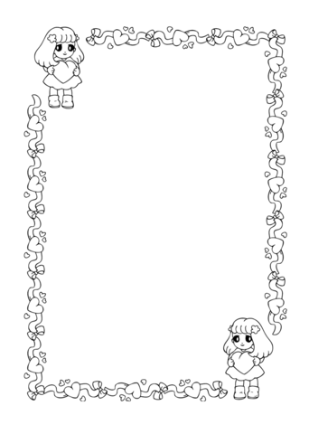 St Valentines Day Frame Coloring Page Free Printable