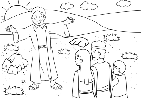 Jacob Shares the News with His Household coloring page