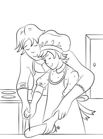 Mother Teaching Her Daughter How to Cook coloring page