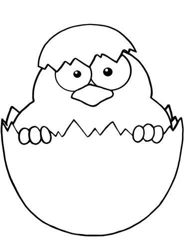 Yellow Chick Peeking out of an Egg Shell coloring page