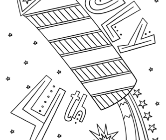 Fourth Of July Fireworks Doodle Coloring Page Free Printable