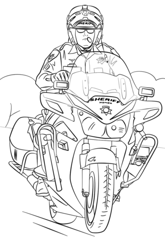 Sheriff On Motorcycle Coloring Page Free Printable
