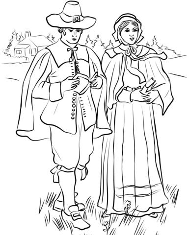 New England Puritan Couple Coloring Page Free Printable