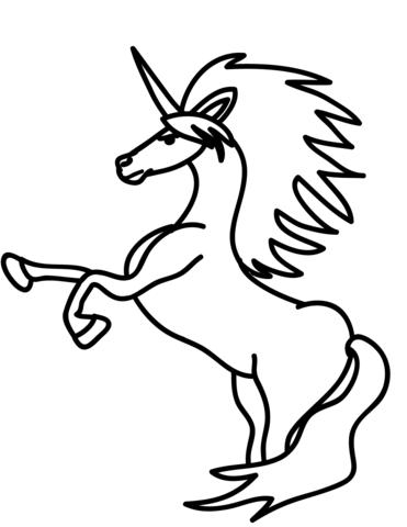 Dibujo de Unicornio sobre sus patas traseras para colorear